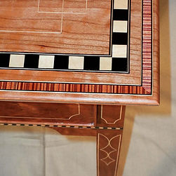 Close up of the cherry side table in my