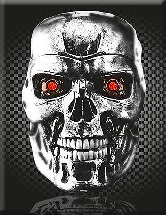 Въглеродна емблема на робота с червени очи