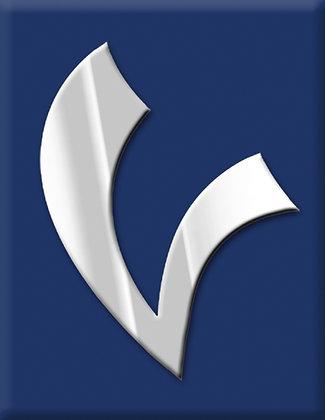 Emblema V-azul escuro