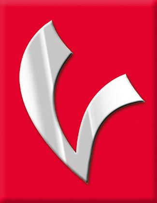 V-червена емблема