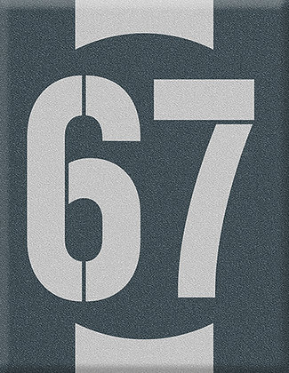 Emblema do número inicial 67-cinza