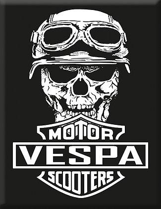 Emblema Crânio V Vespa Motor Scooter Preto