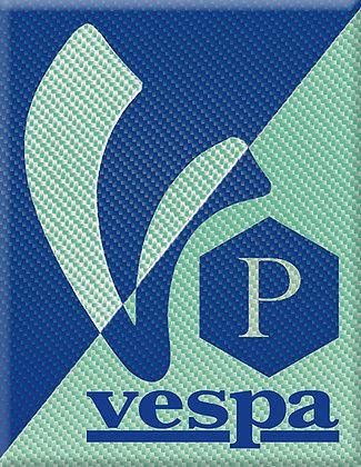 Емблема на V-Vespa с P синьо зелено
