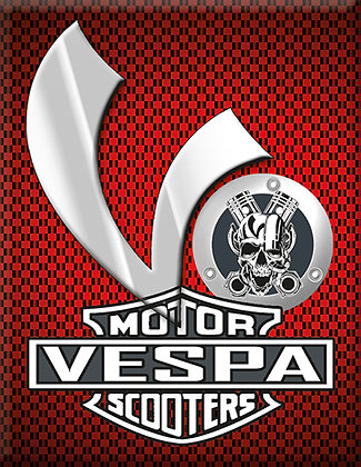 Vespa Kaskade Piaggio V-Emblem Red Motor Scooters