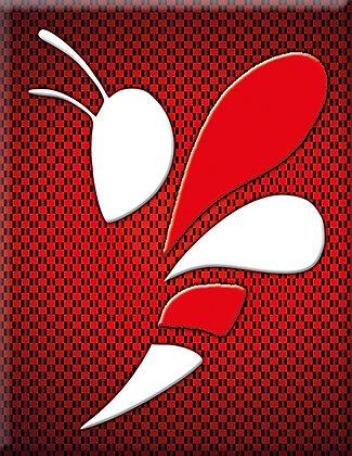 Wasp01-Червен въглерод емблема