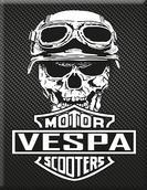 VP-052 Plakette Skull-Motor-Vespa 2-Carb