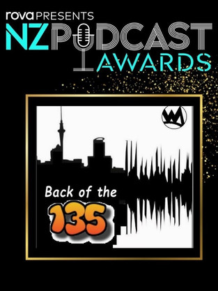Back of the 135 NZ Podcast Awards Nomination