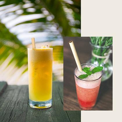 Tall Glass w/ Bamboo Straw