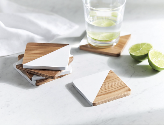 Half White Wood Coasters (Set of 4)