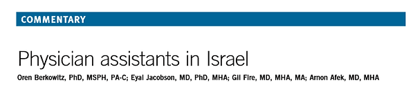 Physician Assistants in Israel, JAAPA, 2