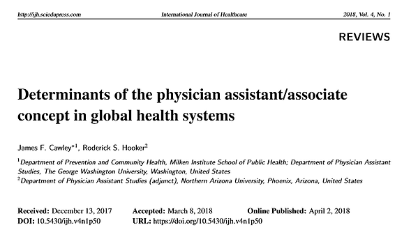 Determinants of the physician assistant