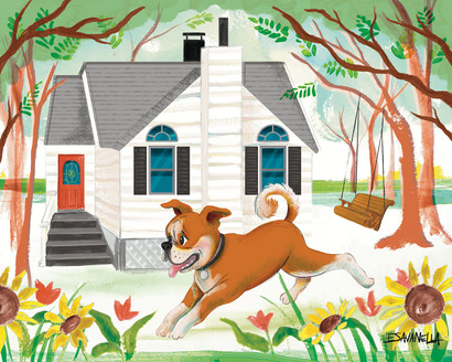 Dog and house portrait