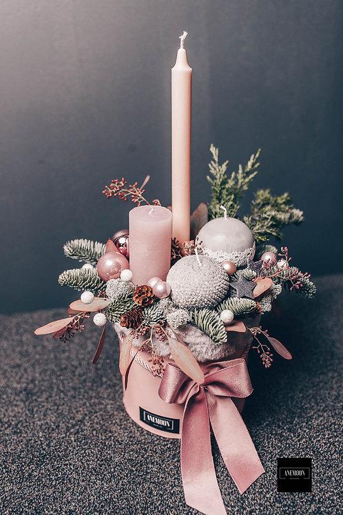 Adventes kompozīcija kastē - rozā