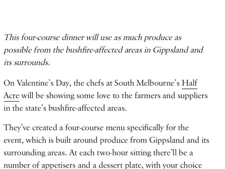 Chefs at Sth Melbourne's Half Acre helps Gippsland farmers