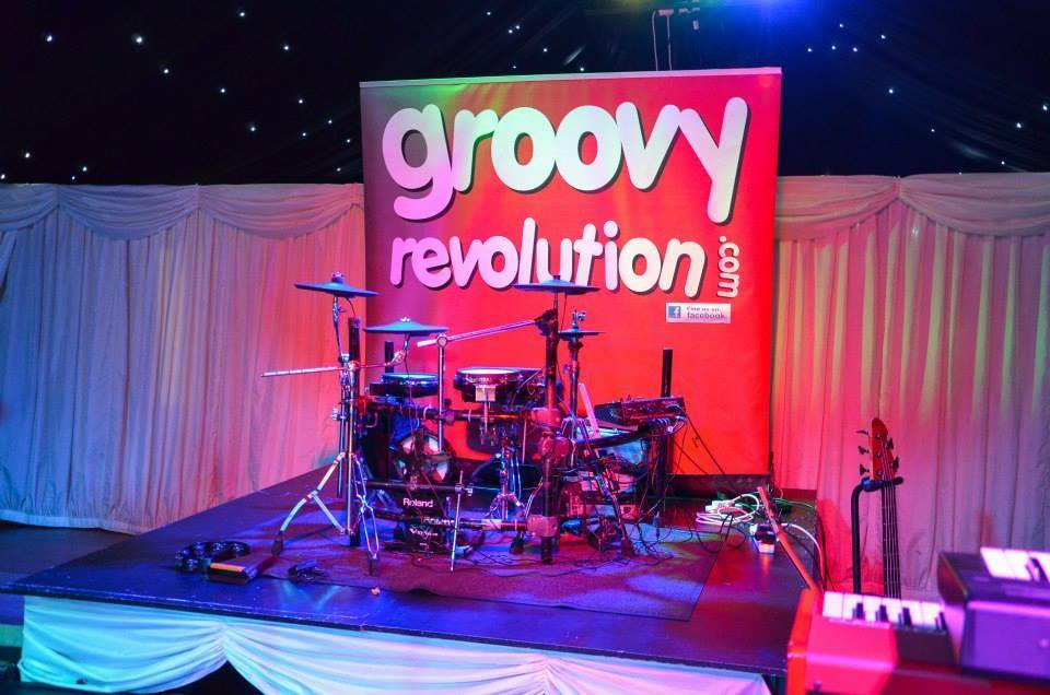 Cheshire wedding band Groovy Revolution. Electronic drum kit to combat sound limiter