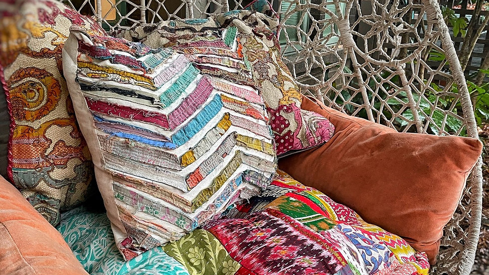 Kantha Patchwork Silk and Cotton Fabric Boho Tufted Floor Hanging Chair Cushion