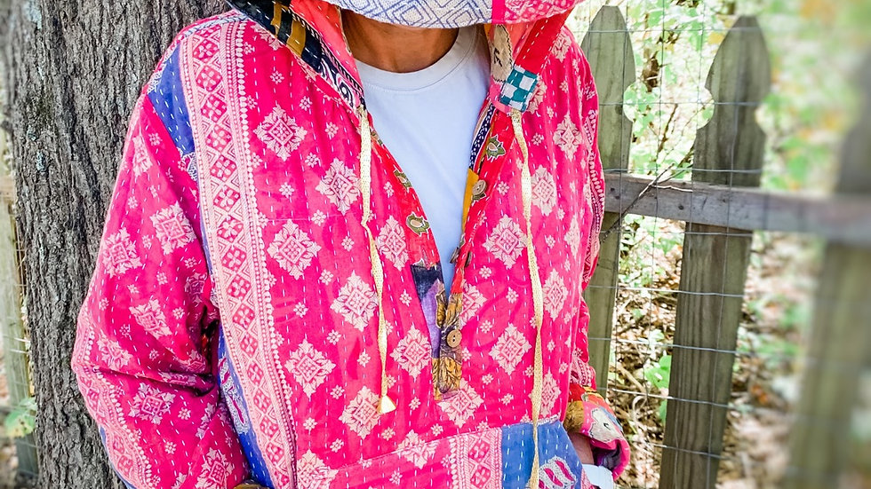 Handcrafted Bohemian Pull Over Reversible Patchwork Kantha Hoodies
