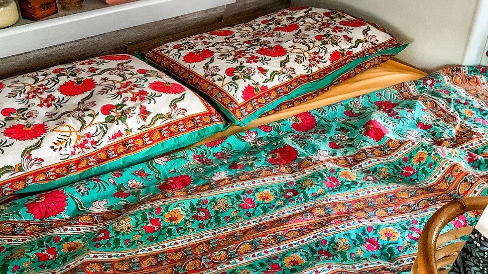 Indian Cotton Block Print Green Floral Flat Sheet with Reversible Pillow Shams