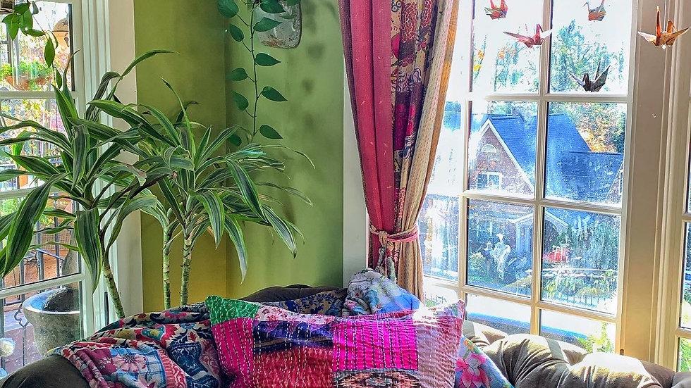 Silk Patchwork Kantha Pillow Covers