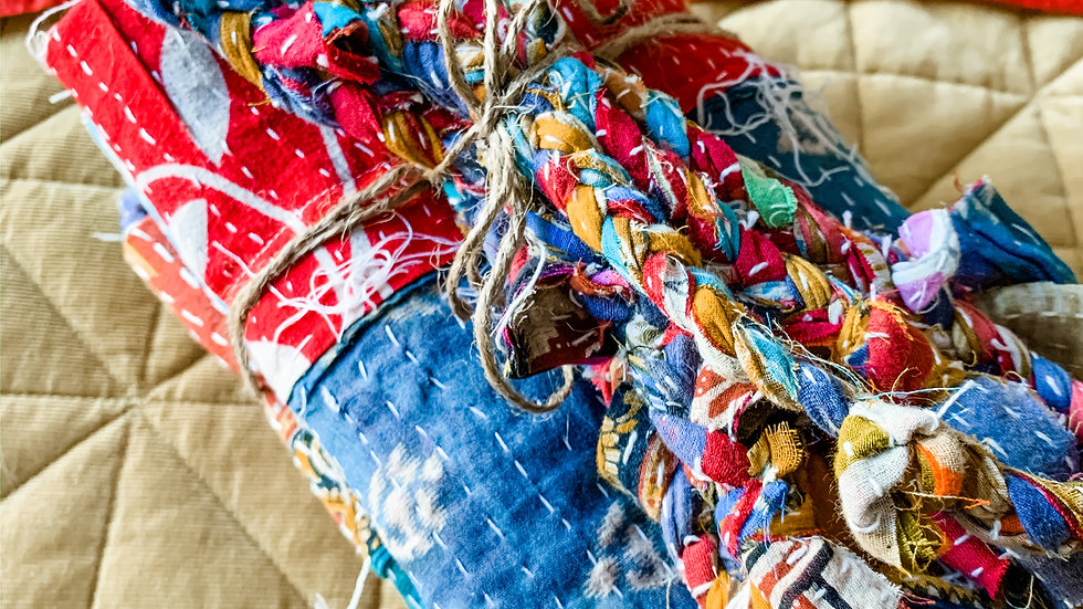 Handcrafted Made to Order Kantha Boho Curtain Tie Backs