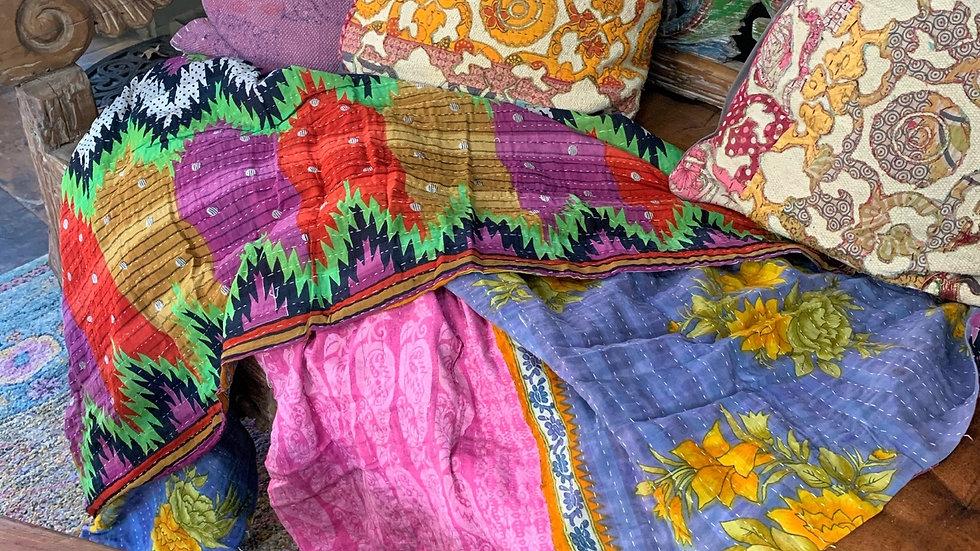 Handcrafted Kantha Patchwork 5x7 Throw Blanket