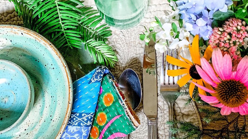 Rustic Kantha Patchwork Decorative Dinner Napkin