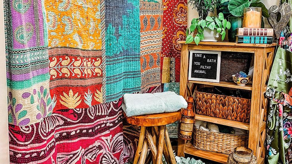 Bohemian Kantha Shower Curtain Custom made