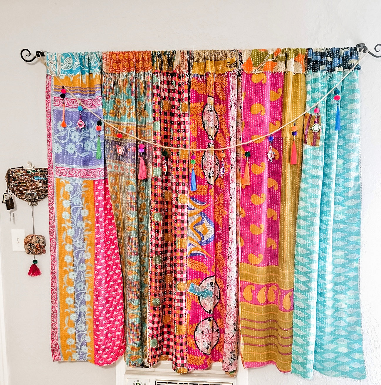 Rustic Boho Scarf Curtain Panels Kantha Patchwork Colorful Hippie Gypsy Camper The Rustic Bohemian