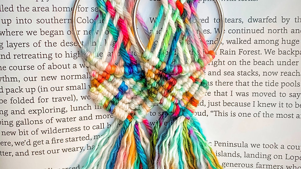 Hand Dyed Cotton macrame earrings