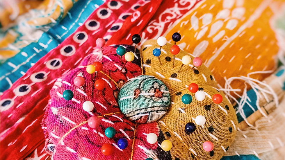 Handcrafted Soft Kantha Scrap Pin Cushion