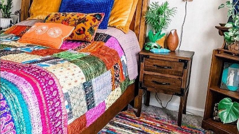 Bohemian Patchwork Vintage Silk Queen Quilts