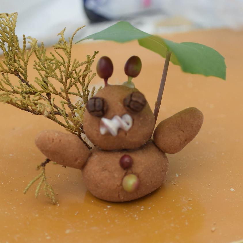 木のねんどと自然素材のヘンテコ動物づくり@今宿野外活動センター