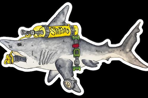 SCUBA Shark Sticker
