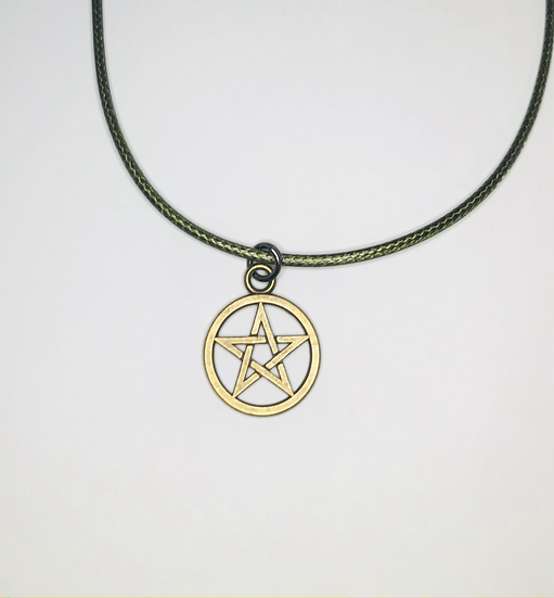 Pentacle Necklace - Bronze, Green Chord
