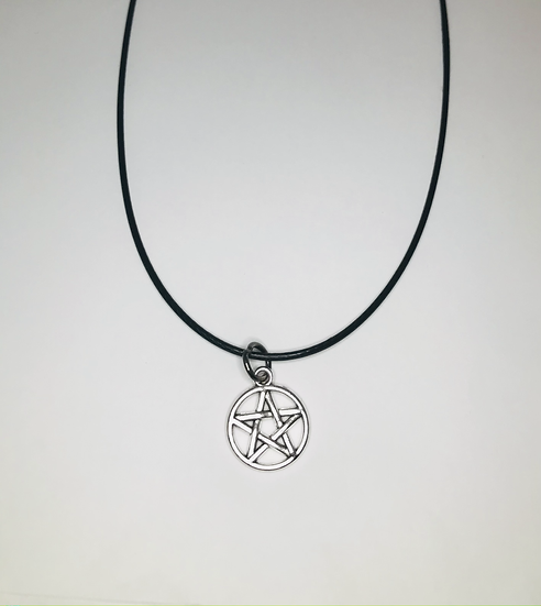 Pentacle Necklace - Silvertone, Black Chord