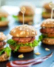Close up of mini hamburgers at catering