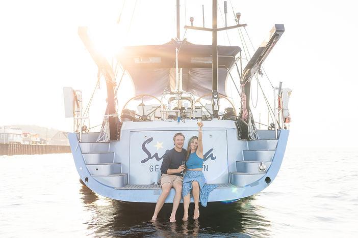 Monmouth Beach sailboat couple engagemen