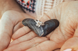 Engagement photos Belmar ring on mussel shells