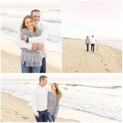 Sea Girt proposal photo shoot walking down beach