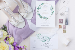 purple wedding details stationery