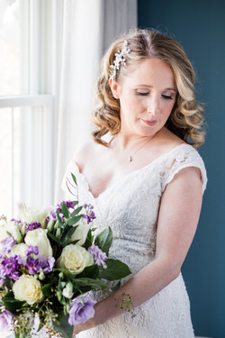 Bright & airy wedding with purple bouquet