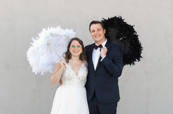The Asbury Hotel wedding couple holding umbrellas