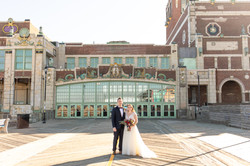 Asbury Park wedding couple on boardwalk