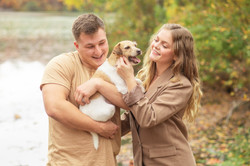 Smithville park fall photos couple with Jack Russell