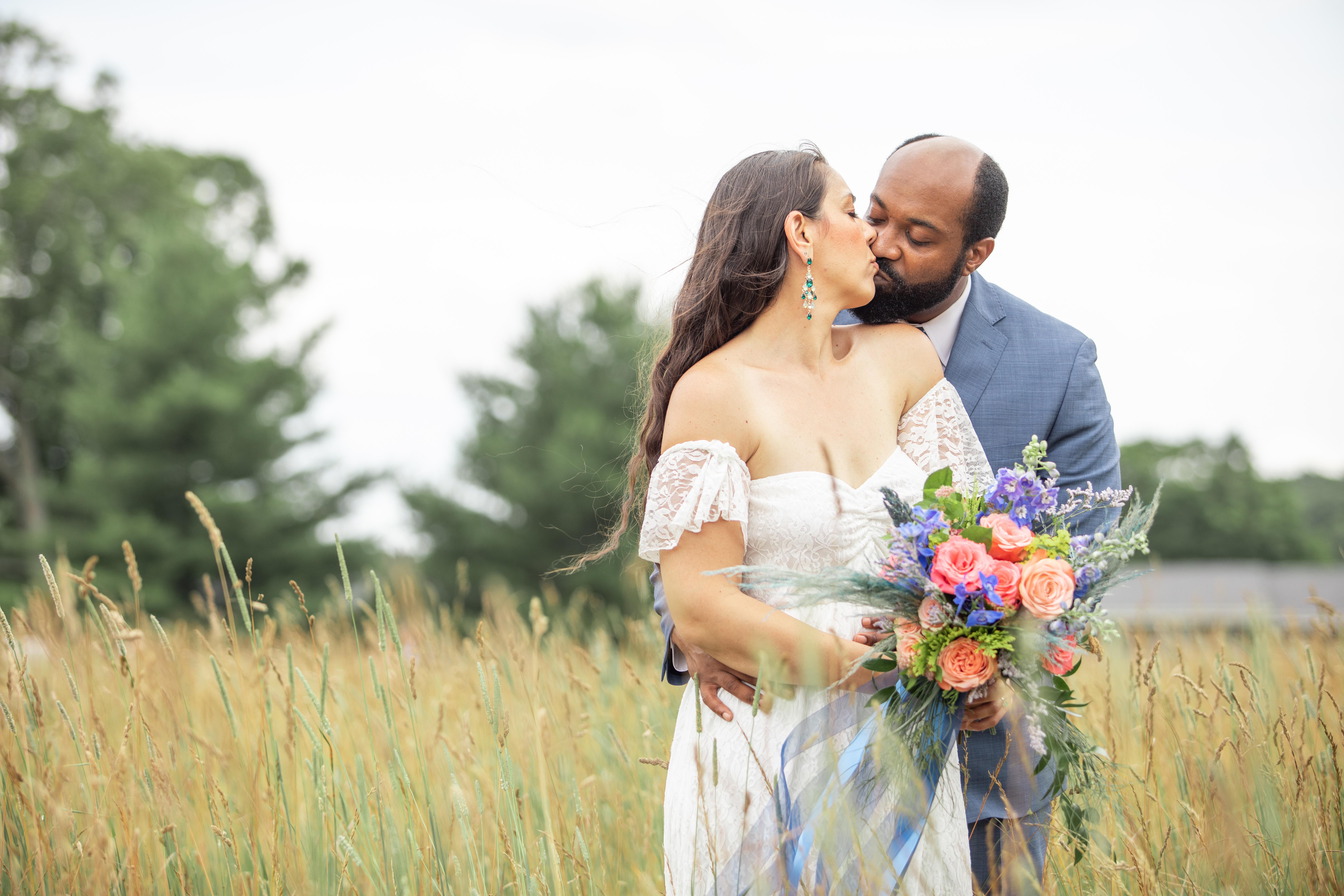 wedding couple farm interracial