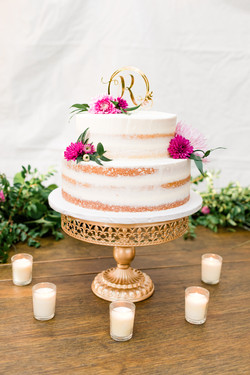Freehold NJ backyard wedding cake with flowers