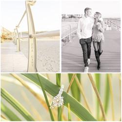 Sea Girt proposal photo shoot walking on boardwalk
