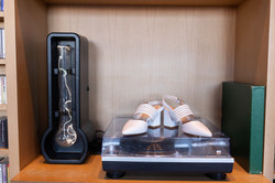 The Asbury Hotel wedding shoes on record player