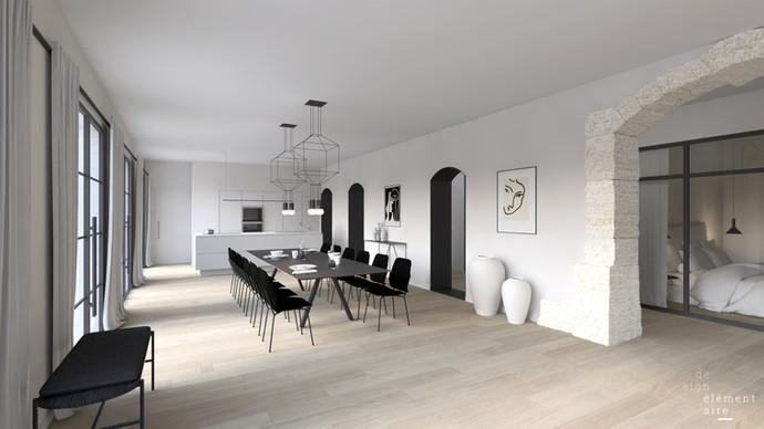 Visualisation 3D des espaces communs de chambres d'hôtes