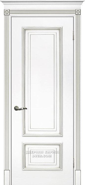 Дверь Смальта 08 Белый ral 9003 патина серебро